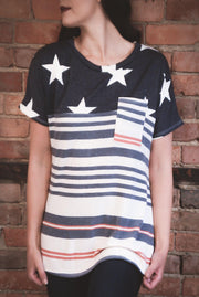 Stars & Stripes Pocket Top S-XL-Top-9Lilas