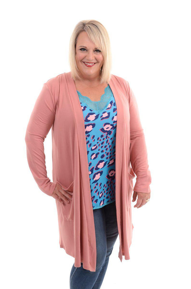 Slouchy Pocket Open Cardigan - Rose S-3X-Cardigan-9Lilas