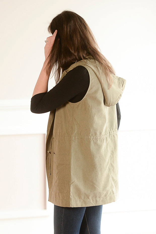 Suede Hooded Vest