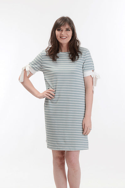 Teal Striped Dress With Tie Sleeves