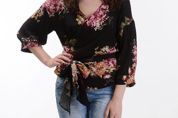 Black Floral Wrap Top