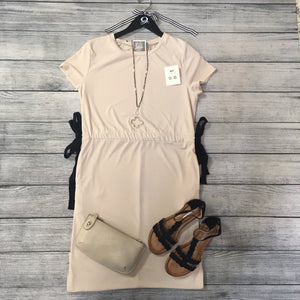 Taupe Midi Dress with Cinched Waist