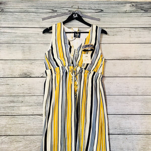 Striped Navy and Mustard Dress with Slit