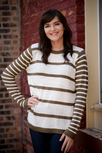 White And Olive Striped Woven Sweater