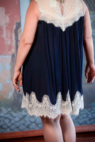 Navy Sleeveless Dress With Lace Detail