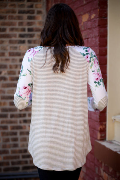 Striped Floral Elbow Patch Top