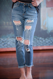 Distressed High Rise Girlfriend Jeans