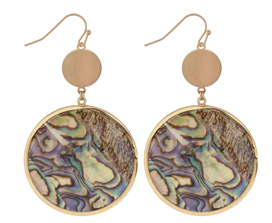 Abalone Disc Drop Earrings