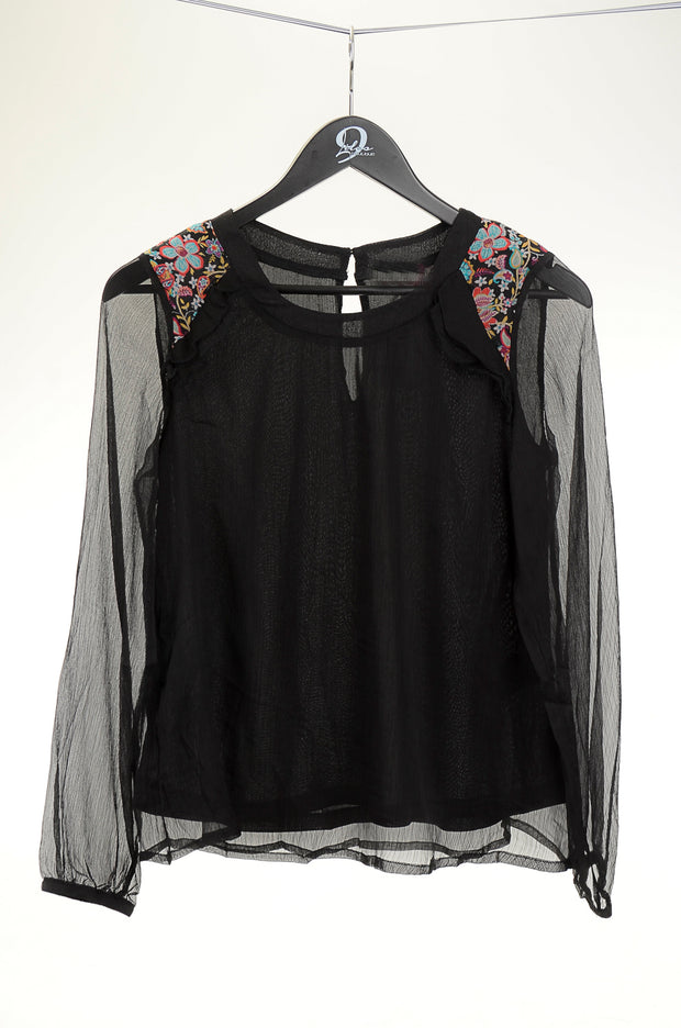 Black Shoulder Embroidered Blouse