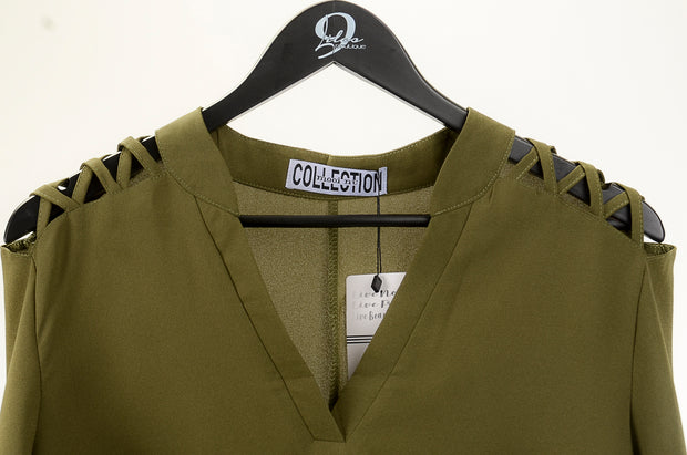 Olive Shoulder Detail Blouse