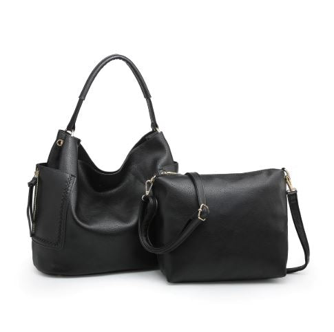 Black Pocket Stitched Hobo Bag