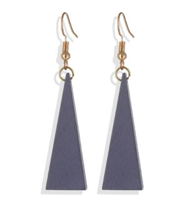 Triangle Wood Dangle Earrings