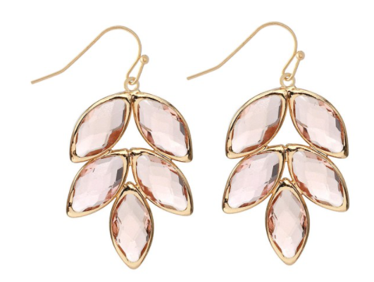 Crystal Leaf Drop Earrings
