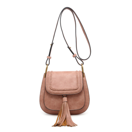 Mauve Braided Tassel Crossbody