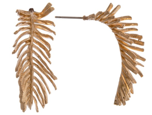 Brass Meal Fringe Leaf Earrings