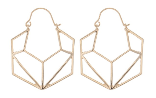 Brass Geometric Hexagon Hoops