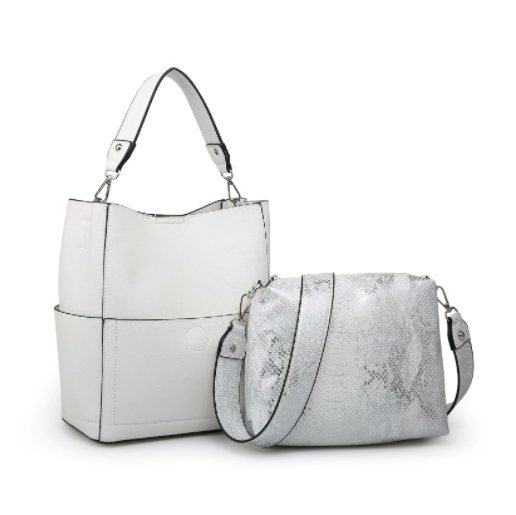 White Snakeskin Bucket Bag