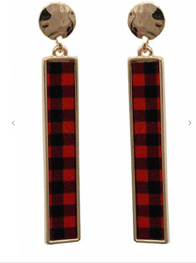 Red Buffalo Plaid Bar Earrings