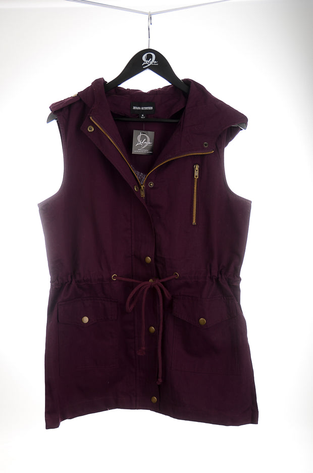 Dark Plum Cargo Hooded Vest