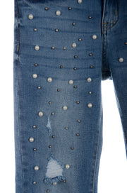 Pearl Bedazzeled Cropped Jeans