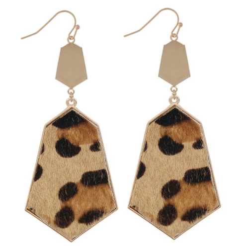 Geometric Cheetah Drop Earrings