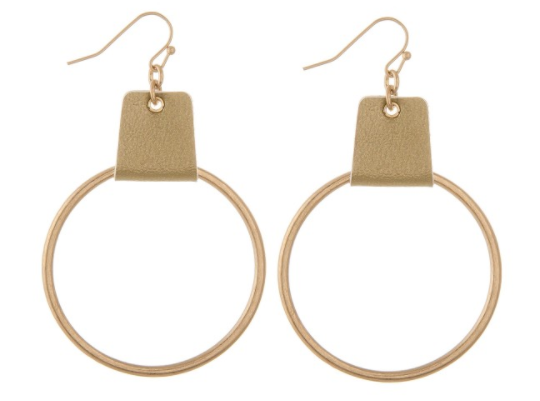 Lather Cuffed Circle Drop Earrings