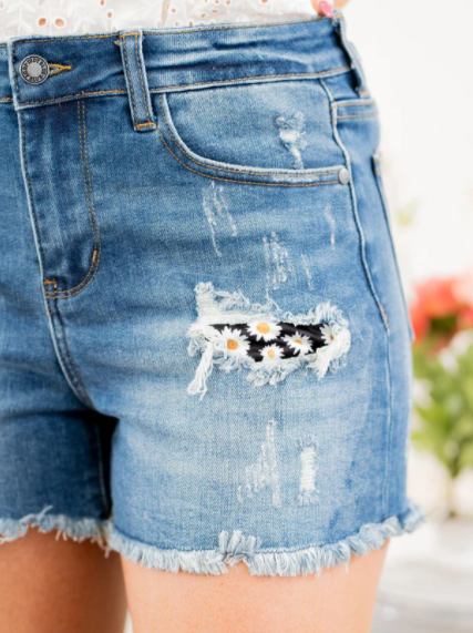 High Rise Daisy Patched Shorts S-XL