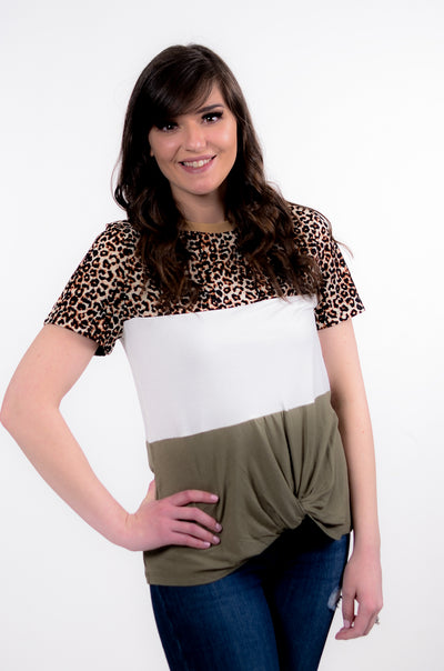 Leopard & Olive Color Block Top XS-XL-Bevs + HJ-9Lilas