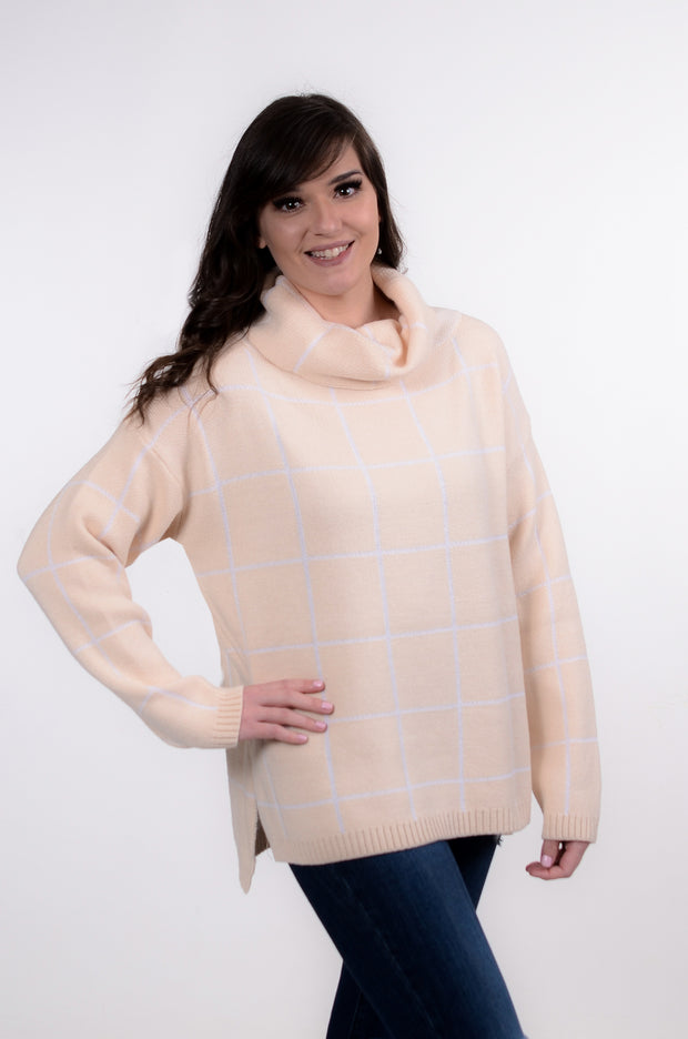 Cream Plaid Cowl Sweater S-XL-Bess & HJ-9Lilas