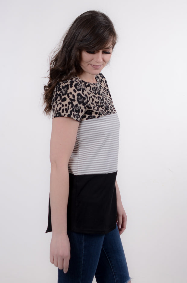 Leopard & Black Color Block Top S-2X-Bess & HJ-9Lilas