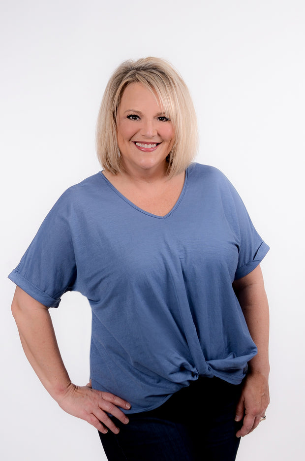 Blue Front Twist Top S-2X-Bess & HJ-9Lilas
