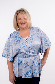 Blue & Grey Front Wrap Top S-2X-Bess & HJ-9Lilas