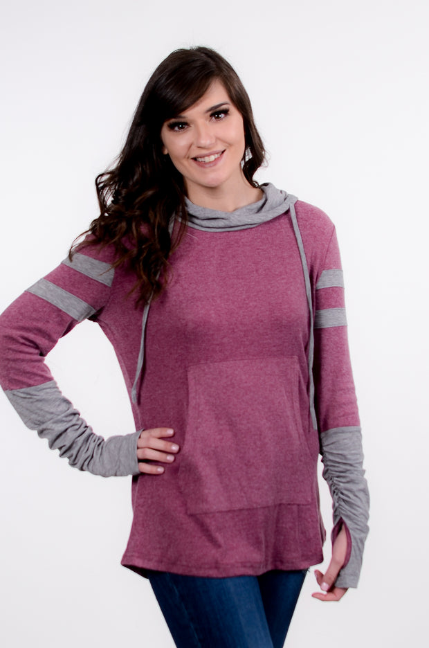 Athletic Stripe Tunic Hoodie S-2X-Bess & HJ-9Lilas