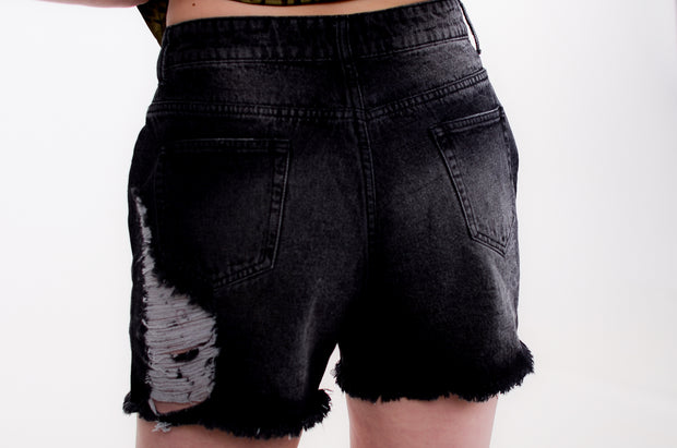 High Waist Black Denim Shorts S-L-Bess & HJ-9Lilas