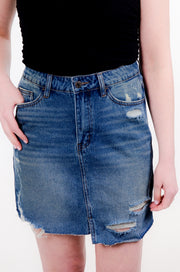 Distressed Denim Skirt, Juniors Fit, XS-L-Vervet-9Lilas