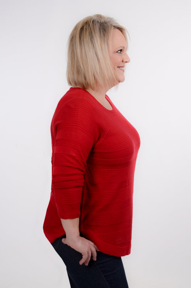 Red Ribbed Sweater XL-3X-DEX-9Lilas