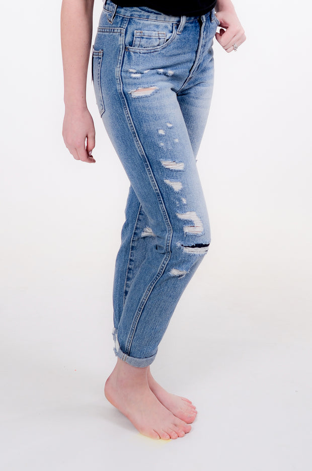 Distressed Mom Jean, Juniors Fit, 24-30-Vervet-9Lilas
