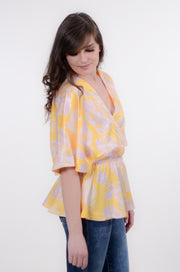 Yellow & Purple Front Wrap Top S-2X-Bess & HJ-9Lilas