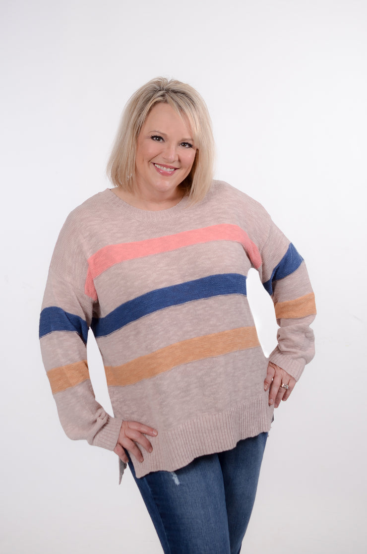 Multi Color Striped Sweater 1X-3X-Easel-9Lilas