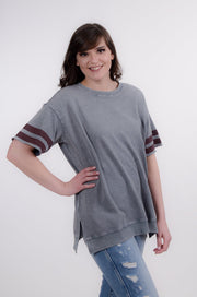 Short Sleeve Athletic Stripe Top S-L-Easel-9Lilas