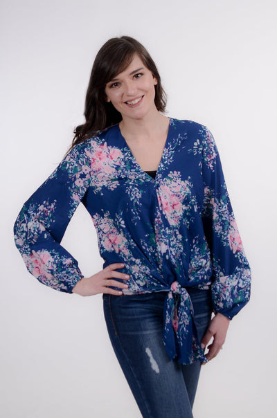 Watercolor Floral Tie Blouse XS-XL-Mooi Nu Collection-9Lilas