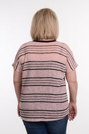 Pink & Black Striped Open Knit Top XL-2X-Top-9Lilas