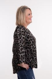 Leopard Pleated Back Top XL-2X-MTS-9Lilas