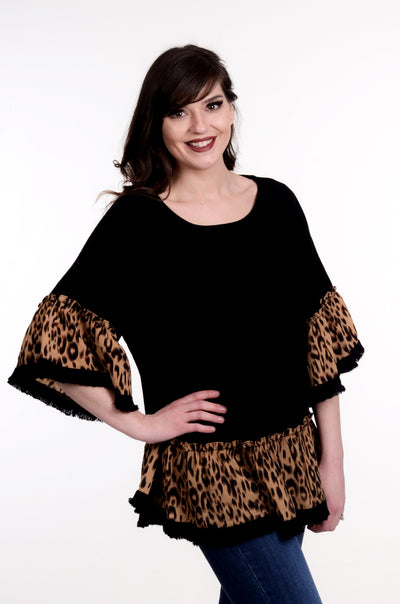 Black & Leopard Ruffle Top S-2X-Umgee-9Lilas