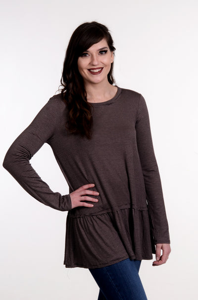 Mocha & Black Striped Ruffle Top S-2X-MTS-9Lilas