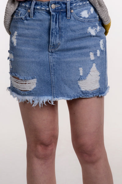 Distressed Frayed Hem Mini Skirt XS-L-Kancan-9Lilas