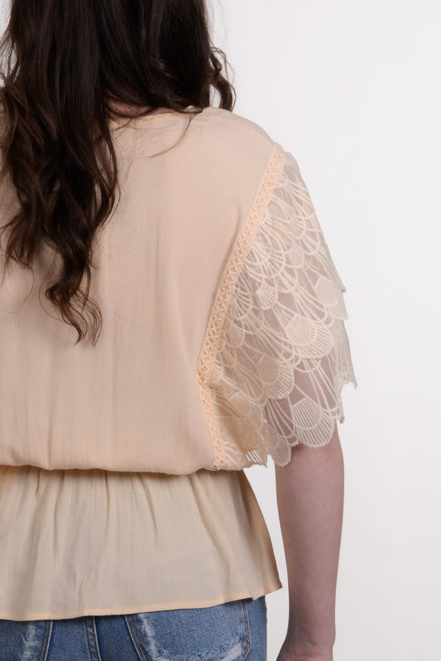 Cream Laced Ruffle Sleeve Top S-L-Top-9Lilas