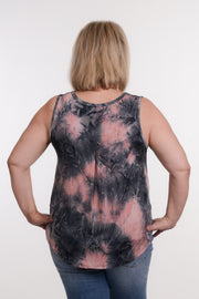 Pleated Back Tie-Dye Tank XL-2X-Tank-9Lilas