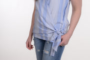 Blue & White Striped Linen Tie Tank XS-XL-Tank-9Lilas