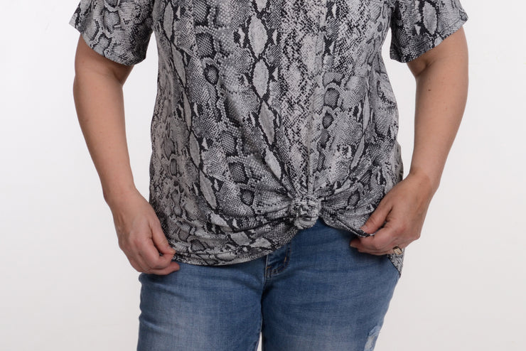 Snakeskin Pocket Top XL-2X-MTS-9Lilas